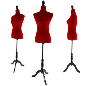 Red Female Mannequin Torso Dress Display Adjustable Tripod Stand Velour