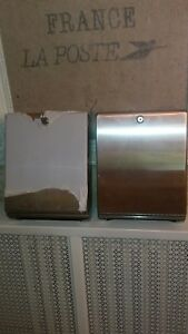 Lot Of 2 Vintage Stainless Commercial Wall Paper Towel Dispenser W Key