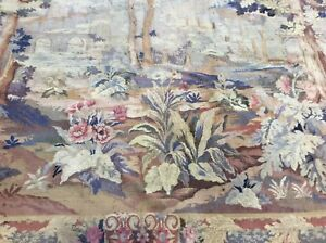 Antique Hand Loomed Belgian Wall Hanging Tapestry From Belgium Circa 1920