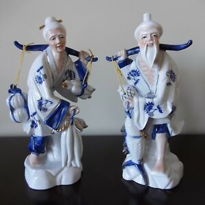 Vintage Chinese Porcelain Old Man Woman Carrying Fish Vegetables Blue White