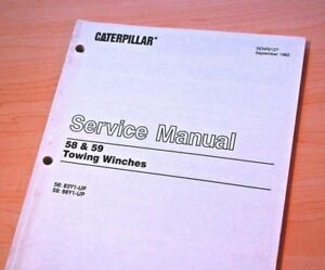 Caterpillar Tractor 58 59 Towing Winch Repair Shop Service Manual Workshop Dozer