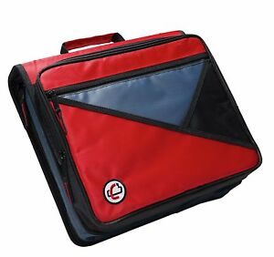 Case it Universal 2 inch 3 ring Zipper Binder Holds 13 Inch Laptop Red Lt