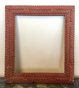 Extremely Well Executed Antique Original Red Painted Tramp Art Folk Art Frame