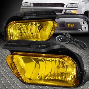 For 02 06 Chevy Avalanche Silverado Amber Lens Bumper Fog Light Lamps W switch