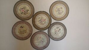 6 Round Antique Silk Chinese Floral Embroidery Doily Placemat Badge Great Colors