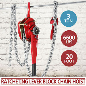 3ton 20ft Ratcheting Lever Block Chain Hoist Puller Pulley Heavy Duty Pop
