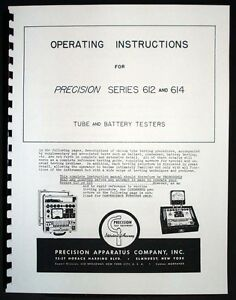Precision Tube Tester 612 And 614 Manual With Tube Test Data