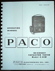 Paco C 25w C25w In circuit Capacitor Tester Operating Manual