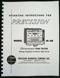 Precision Tube Tester 10 40 Manual With Tube Test Supplement Data