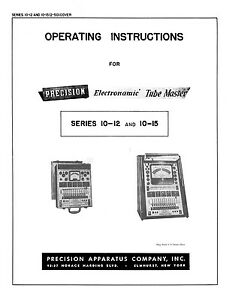 Precision Tube Tester 10 12 10 15 Operating Instructions With 1974 Tube Data