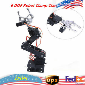 Hot 6 Dof Robot Aluminium Clamp Claw Mount Kit Mechanical Robotic Arm Us Ship