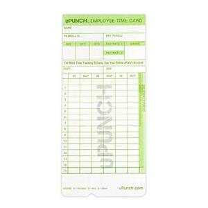Upunch 300 Time Cards For Green Hn3000 Autoalign Time Clocks hntcg1300