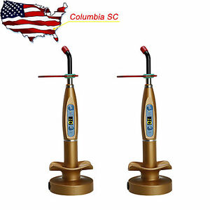 Usa 2x Dental Wireless Cordless Led Curing Light Lamp Dentist Gold
