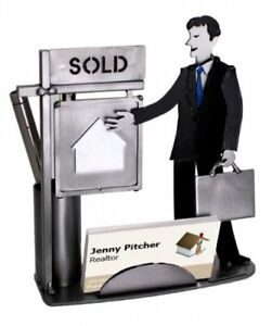 Male Real Estate Agent Business Card And Pen Holder