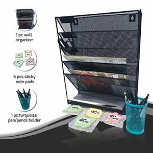 Metal Mesh Wall Organizer File Holder With Post It Sticky Note Pad And Pencil To