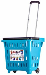 Dbest Products Gocart Teal Grocery Shopping Basket Rolling Laundry Cart