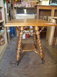 Antique Solid Quarter Sawn Tiger Oak 2 Tier Parlor Lamp Center Table The Best