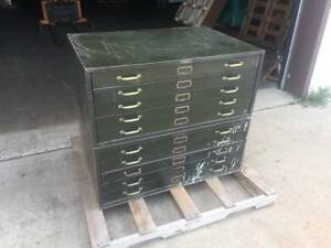 Lot Of Two Lyon 5 Drawer Blueprint Flat File Cabinet Vintage Industrial Antique