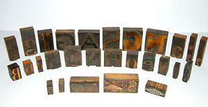 Antique Letterpress Wooden Print Blocks And Ornamental Advertising Blocks