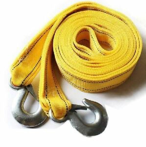 3 Tons Car Tow Cable Towing Strap Rope With 2 Hooks Emergency Heavy Duty Ec