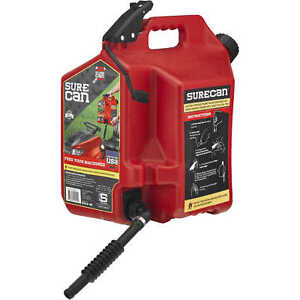 Surecan 5 gallon Plastic Safety Spill Free Gas Can Sur50g1 By Surcan
