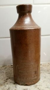 J Bourne Son Vitreous Stoneware Bottle 7 1 4 Inches Tall Pouring Spout