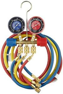Robinair 40174 Two Way Brass Manifold With 60 Ryb Hoses For R22 404a 410a Refr