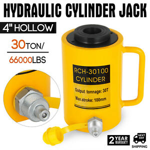 30ton 100mm 4inch Stroke Ram Hollow Hydraulic Cylinder Jack Heavy Duty New