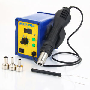858d 110v Smd Electric Rework Soldering Station Iron Kit W Hot Air Gun Led Light