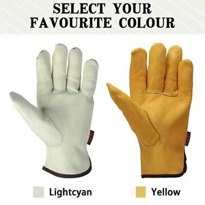 2 Color Pair Cowhide Leather Work Gloves High Safety Protective For Outdoor Work