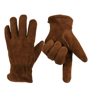 Pair Cowhide Leather Work Glove 2 Colo Safety Protective Cold resistant Outdoor
