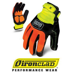 Ironclad Exo High Visibility Hza Abrasion Safety Work Gloves 12 Pair Bulk Case