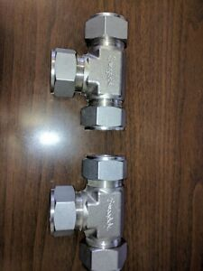 Two Swagelok Ss 1610 3 Stainless Steel Union Tee Fittings 1 free Shipping