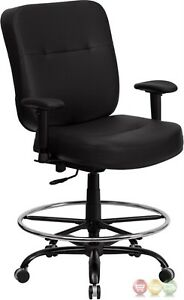 Hercules Big Tall Black Leather Drafting Chair W Wide Seat Adjustable Arms