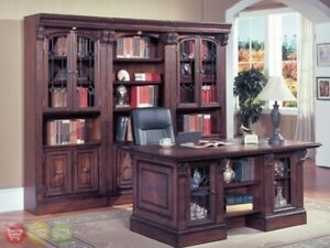 Huntington Traditional Executive Desk Library Wall Bookcase Office Furniture