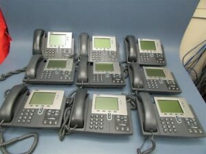 Lot Of 9 Used Cisco Ip Phone 7900 Series Telephones Cp 7941g Cp 7942g