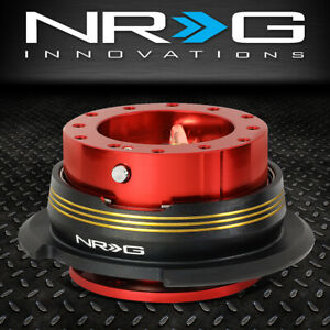Nrg 6 Bolt Aluminum Steering Wheel Quick Release Gen 2 9 Red Body Gold Stripes