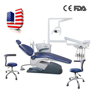 Fda Ce Dental Unit Chair Computer Controlled With Stool Seat Dark Blue Usa