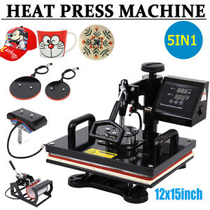 5 In 1 Dual Digital Transfer Sublimation Heat Press Machine T shirt Mug 15 x12