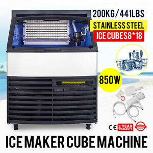 200kg 440lbs Commercial Ice Cube Making Machine Ice cream Store Water Filter Bar
