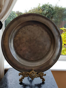 Antique Large Round Pewter Plate Charger With Crowned R And M Circa 1750