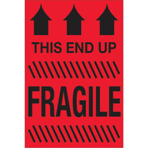 Tape Logic Labels this End Up Fragile 2 X 3 Fluorescent Red 500 roll