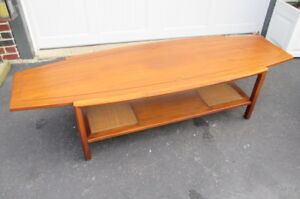 Mid Century Danish Modern Walnut Surfboard Coffee Table Cane 66 Long Vintage