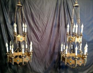 Pair Of Gilded Bronze Gothic Chandeliers 19th French Church Blue Opaline Enamel