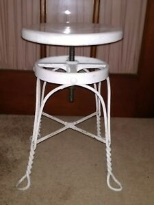 Vintage White Metal Base Wood Seat Stool Chippy Industrial Adjustable Seat