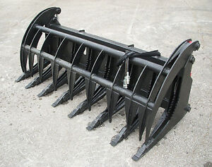 Bobcat Skid Steer Attachment 84 Root Rake Grapple Bucket W Teeth Free Ship