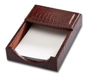 Dacasso Brown Crocodile Embossed Leather Memo Holder 4 inch By 6 inch