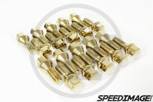 Z Racing Gold Lug Bolts For Bmw 5 Series 12x1 5mm 28mm Length Cone Seat