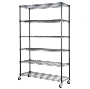 72 x48 x18 Adjustable 6 Tier Shelf Steel Wire Metal Shelving Rack Storage Wheel