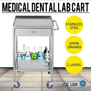 Stainless Steel Medical Lab Trolley Dental 2 Layers Cart With One Drawer Udw